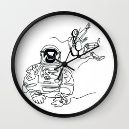 Astronauts in space, continuous line drawing Wall Clock
