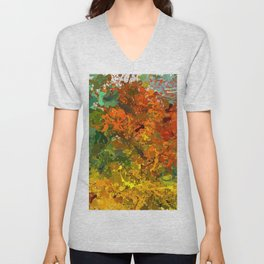 Abstract Expressionist Splashes Drip Painting Texture Unisex V-Neck