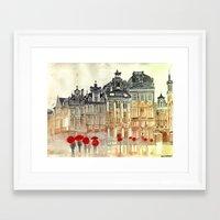 brussels Framed Art Prints featuring market in Brussels  by takmaj