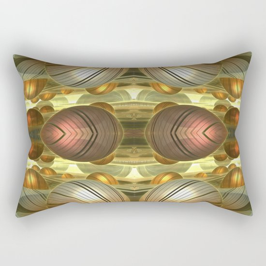 Golden Globes / /  #fractal #fractals #3d Rectangular Pillow