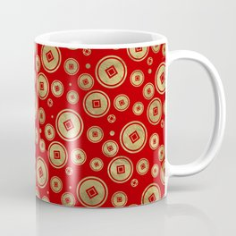 Chinese Coin Pattern Gold on Red Coffee Mug