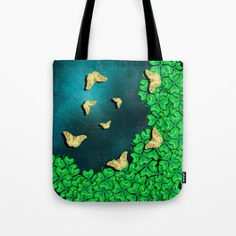 clover and butterflies Tote Bag