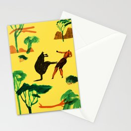 Who will win...Man or Kangaroo? Stationery Cards