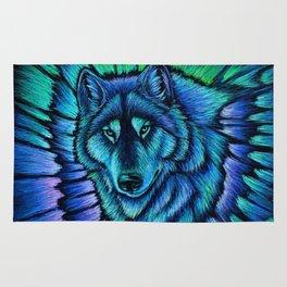 Blue Wolf Aurora Colorful Fantasy Rug