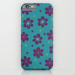 Doodle Dots Large Flower Pattern - Purple Green Teal iPhone Case