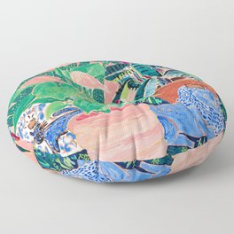 Jungle of House Plants Blush Still Life Painting with Blue Lion Figurine Floor Pillow