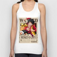 luffy Tank Tops featuring Monkey D. Luffy wanted by r3v0lver