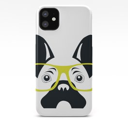 French Bulldog with yellow glasses  iPhone Case