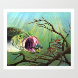 Large Mouth Bass and Clueless Blue Gill Fish Art Print