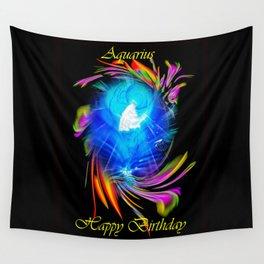 Zodiac sign Aquarius  Happy Birthday Wall Tapestry