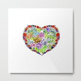 Flowers in the Heart Metal Print