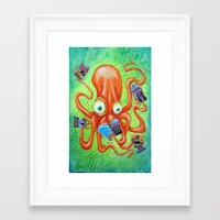 comic book Framed Art Prints featuring Comic Book Octopus by Bili Kribbs