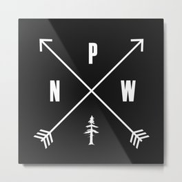 PNW Pacific Northwest Compass - White on Black Minimal Metal Print