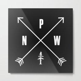 PNW Pacific Northwest Compass - White on Black Minimal Metal Print