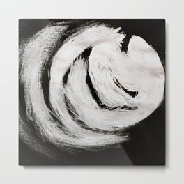 Serpentine, Abstract, Black & White Metal Print