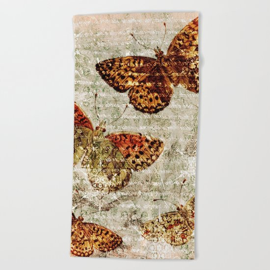 Vintage Butterflies 01 Beach Towel