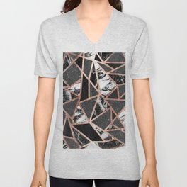 Modern Rose Gold Glitter Marble Geometric Triangle Unisex V-Neck
