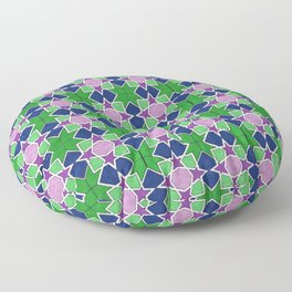 Islamic geometric star motif in green, blue and purple Floor Pillow