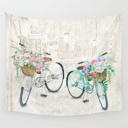 Vintage Bicycles With a City Background Wall Tapestry