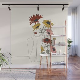 Colorful Thoughts Minimal Line Girl with Sunflowers Wall Mural
