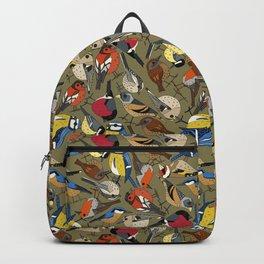 winter garden birds olive Backpack