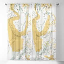 Woman, Flowers & Wheat Sheer Curtain