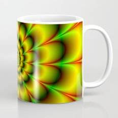 Spiral Rosette in Yellow Green and Red Mug