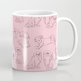 English Rose Pink & Dark Taupe Minimalist Outline Tibetan Spaniel Pattern Coffee Mug