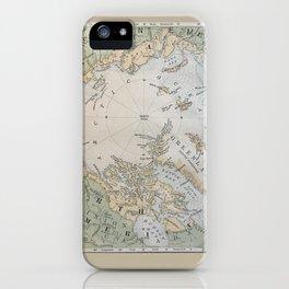 North Pole antique map 1800s iPhone Case