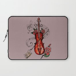 Brown Violin with Notes Laptop Sleeve