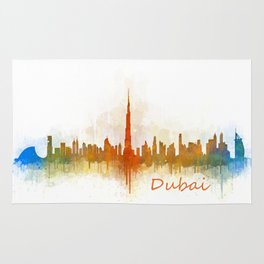 Dubai, emirates, City Cityscape Skyline watercolor art v3 Rug
