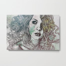 Wake: Summer | maple leaves tattoo woman portrait Metal Print