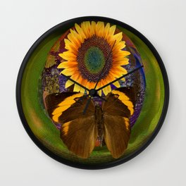 SunFlower and the Butterfly Wall Clock