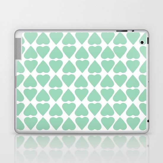 Diamond Hearts Repeat Mint Laptop & iPad Skin