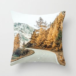 Snow + Golden Pine Photography Landscape Wall Decor, Scenic Nature Throw Pillow