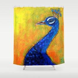 peacock art glow shower curtain