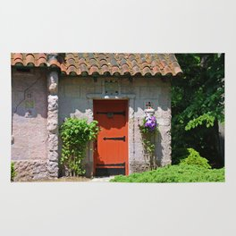 Lourdes University-  Portiuncula  Chapel Door with Clematis Rug