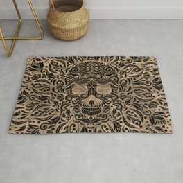 Luxury Skull Ornament Black and Gold Rug