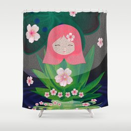 Green Lotus Girl Modern Floral Print Shower Curtain