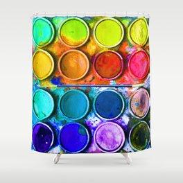 Watercolor Art Palette Shower Curtain