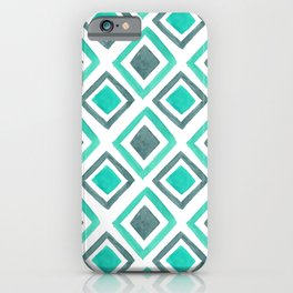 Watercolor Geomtric Pattern - Mint & Gray iPhone Case