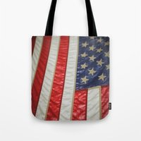 american flag Tote Bags featuring American Flag by alltheprettythings