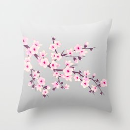 Cherry Blossoms Pink Gray Throw Pillow