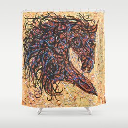 Abstract Horse Digital Ink Pollock Style Shower Curtain