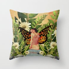 Retro Beauty With Butterfly Wings Garden Throw Pillow