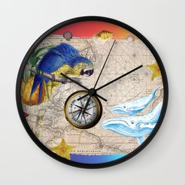 Tropical Paradise Rainbow Collage Wall Clock
