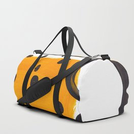 Mid Century Abstract Black & Yellow Fun Pattern Funky Playful Juvenile Shapes Polka Dots Duffle Bag
