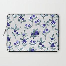 Modern watercolor blue berries fruit floral pattern Laptop Sleeve