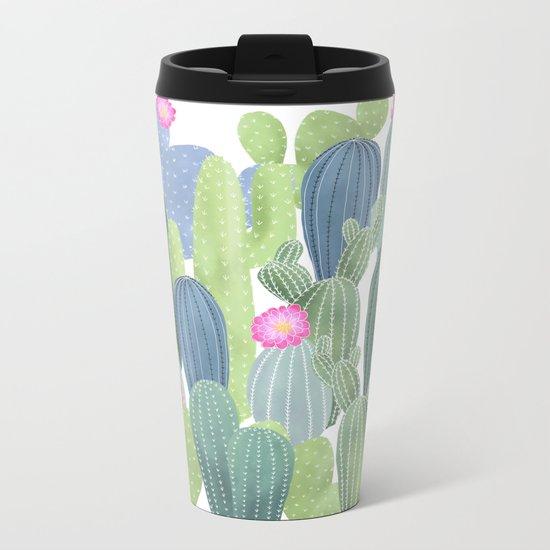 Cacti Love / Watercolor Cactus Pattern Metal Travel Mug
