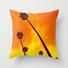 Orange Palm Trees Throw Pillow